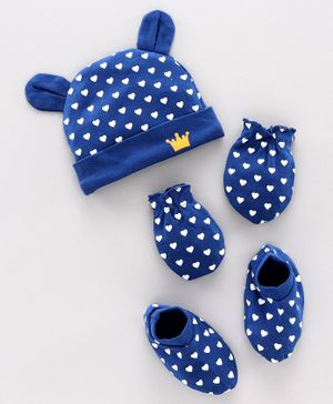 Babyhug 100% Cotton Cap, Mitten & Booties Dots Print Navy Blue - Diameter 11 cm