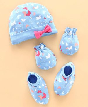 Babyhug 100% Cotton Cap, Mitten & Booties Butterfly Print Sky Blue - Diameter 11 cm