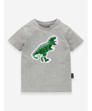 MAGIC TEES Half Sleeves Dinosaur Sequined T-Shirt - Grey