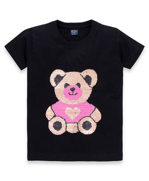 MAGIC TEES Half Sleeves Teddy Sequined T-Shirt - Black