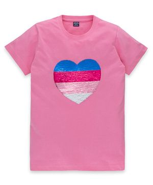 MAGIC TEES Half Sleeves Heart Sequined T-Shirt - Pink