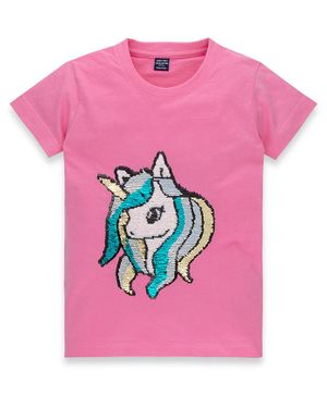 MAGIC TEES Half Sleeves Unicorn Sequined T-Shirt - Pink