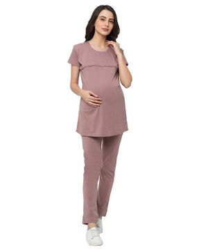 MomToBe  Half Sleeves Solid Colour Maternity Night Suit - Pink