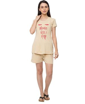 MomToBe Short Sleeves Text Print Feeding Maternity Night Suit - Beige