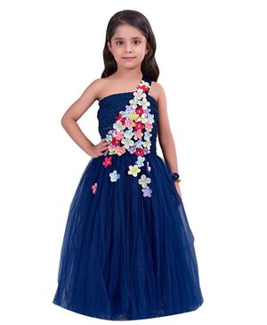 Pink Chick Sleeveless One Shoulder Flower Gown - Navy Blue