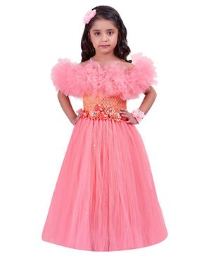 Pink Chick Short Sleeves Flower Applique Off Shoulder Ruffled Gown - Peach