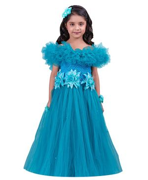 Pink Chick Short Sleeves Flower Applique Off Shoulder Ruffled Gown - Blue