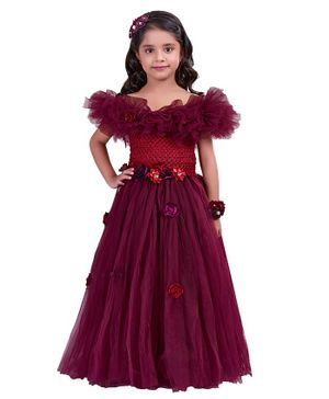 Pink Chick Off Shoulder Short Sleeves Flower Applique  Gown - Wine