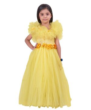 Pink Chick Flower Applique Short Sleeves Flower Applique  Gown - Yellow