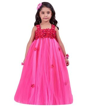 Pink Chick Sleeveless Flower Embellished Yoke Gown - Pink