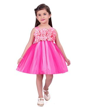 Pink Chick Sleeveless Flower Adorned Dress - Pink