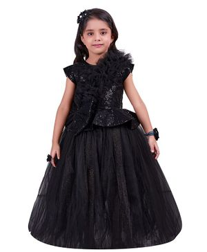 PinkChick Short Sleeves Glitter Finish Ruffle Detailed Gown - Black