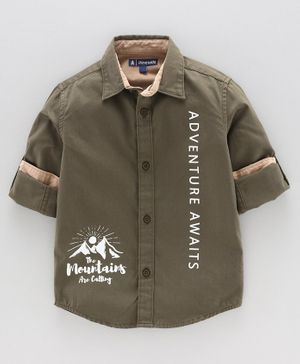 Pine Kids Full Sleeves Anti Viral Finish Shirt Text Print - Olive Green