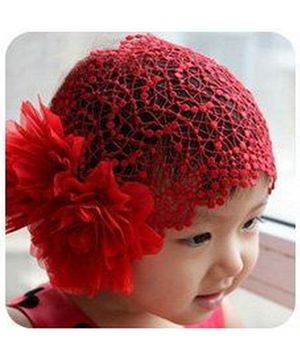 Akinos Kids Embroided Big Flower Princess Headband - Red