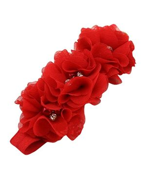 Akinos Kids  Flower Headband Embellished With Pearls - Red