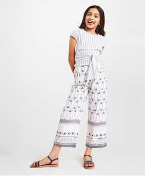 Global Desi Girl Printed Short Sleeves Top With Pants - White