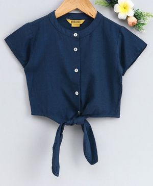 Global Desi Girl Half Sleeves Button Down Front Knot Top - Navy Blue
