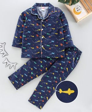 Babyhug Full Sleeves Night Suit Aeroplane Print - Navy Blue