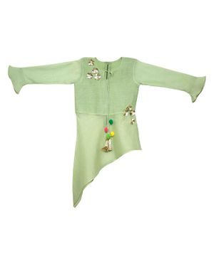 Mish Organic Full Sleeves Flower Applique Asymmetric Kurta - Light Green