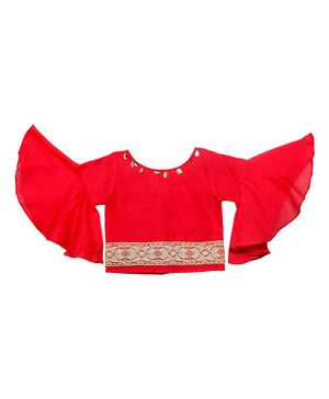 Mish Organic Flared Full Sleeves Lace Detailing Crop Top - Red
