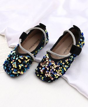KIDLINGSS Sequin Embellished Velcro Closure Bellies - Black