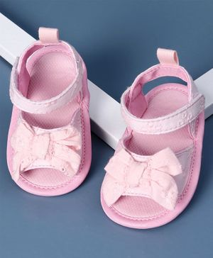 KIDLINGSS Bow Applique Sandal Style Booties - Pink