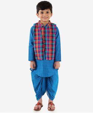 Lil Peacock Full Sleeves Kurta With Checked Jacket & Dhoti - Blue