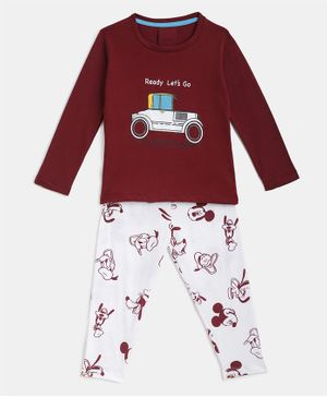 KIDSCRAFT Full Sleeves Vehicle Print Night Suit - Maroon