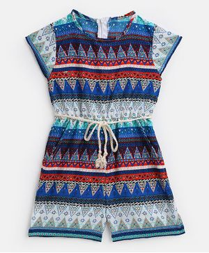 KIDSCRAFT Short Sleeves Abstract Print Jumpsuit - Multicolor