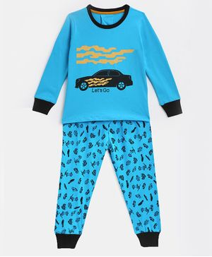 KIDSCRAFT Full Sleeves Car Print Night Suit - Turquoise
