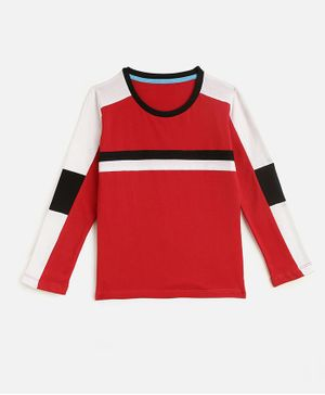 KIDSCRAFT Full Sleeves Striped T-Shirt - Red