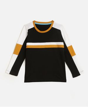 KIDSCRAFT Full Sleeves Striped T-Shirt - Black