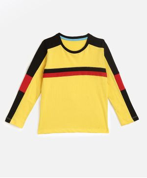 KIDSCRAFT Full Sleeves Striped T-Shirt - Yellow Black