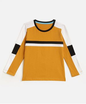 KIDSCRAFT Full Sleeves Striped T-Shirt - Dark Yellow