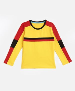 KIDSCRAFT Full Sleeves Striped T-Shirt - Yellow Red