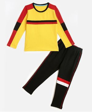 KIDSCRAFT Full Sleeves Striped Night Suit - Yellow Red