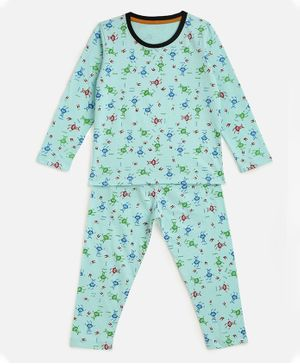 KIDSCRAFT  Full Sleeves All Over Print Night Suit - Sea Green