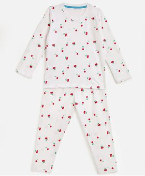 KIDSCRAFT Full Sleeves Cherry Print Night Suit - White