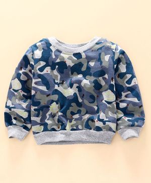 Little Carrot Full Sleeves Camouflage Printed Sweatshirt - Blue