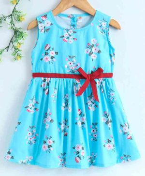 Dew Drops Sleeveless Frock Floral Print - Blue