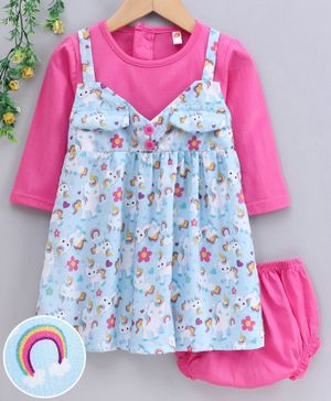 Dew Drops Full Sleeves Frock with Bloomer Unicorn Print - Pink Blue