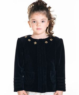Cherry Crumble By Nitt Hyman Full Sleeves Flower Embroidery Neckline Quilted Jacket - Black