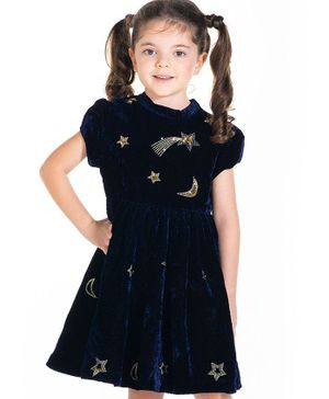 Cherry Crumble By Nitt Hyman Short Sleeves Star Print Fit & Flare Dress - Navy Blue