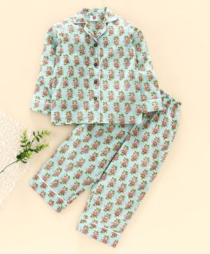 Tahanis Flower Print Full Sleeves Night Suit - Sea Green
