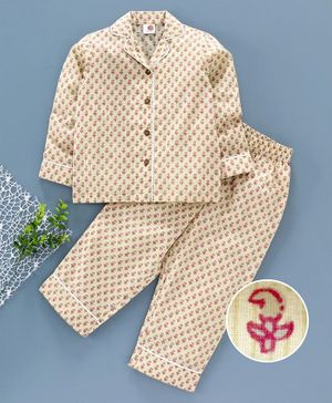 Tahanis Flower Print Full Sleeves Night Suit - Beige