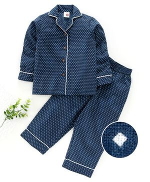 Tahanis Dot Print Full Sleeves Night Suit - Blue