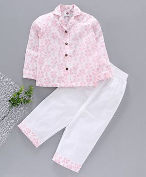 Tahanis Flower Print Full Sleeves Night Suit - White