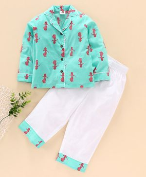 Tahanis Girl Printed Full Sleeves Night Suit - Sea Green