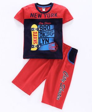 Nottie Planet Half Sleeves New York Print Tee With Pajama - Red