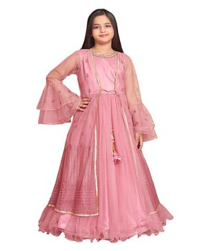 Betty By Tiny Kingdom Full Sleeves Flower Embroidery Work With Pearl Detailed Neckline Ethnic Gown - Pink